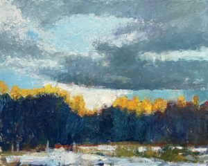 TOM CURRY  Golden Tree Tops oil on birch panel, 16 x 20 inches $3200
