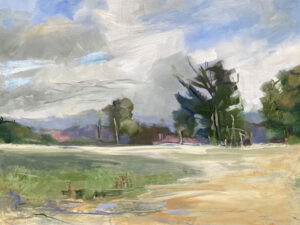 KATE EMLEN Pekin Brook oil on paper on panel, 9 x 12 inches $1500