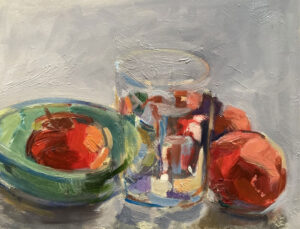 KATE EMLEN Three Apple Lunch oil on paper on panel, 6.5 x 8.5 inches $900