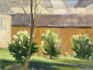 KATE EMLEN Three Pear Trees oil on paper on panel, 9.5 x 12.5 inches $1500