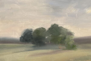 KATE EMLEN Transpiration oil on paper on panel, 98x 13 inches $1500
