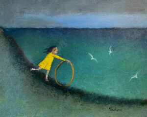 WILLIAM IRVINE Girl with Hoop oil on canvas, 24 x 30 inches $4600