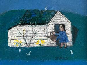 WILLIAM IRVINE Woman with a Watering Can oil on panel, 12 x 16 inches $2800