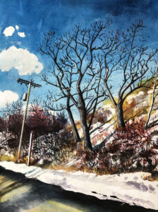 ED NADEAU Road Along the Penobscot watercolor, 16 x 12 inches $850