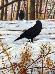 ED NADEAU Two Crows in a Golden Wood oil on casein on panel, 16 x 12 inches $995