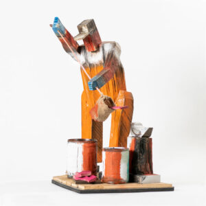 MATT BARTER Dipping Bail paint, reclaimed wood and found object, 22h x 14 x 12 inches $2800