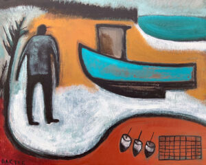 MATT BARTER Boatwork, Turquoise Hull oil on board, 24 x 30 inches $2200