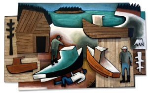 MATT BARTER Boatyard Relief oil on board and reclaimed wood 44h x 67 x 4.5 inches $8500