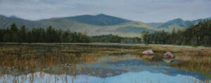 JUDY BELASCO Lake View Katahdin oil on panel, 8.5 x 21 inches SOLD