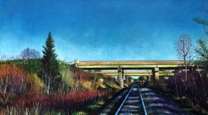 ED NADEAU Railroad and I-95 Bridge acrylic on canvas, 9 x 16 inches $1200