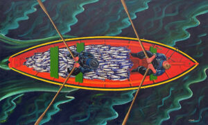 JOHN NEVILLE Dory with Herring, Silver Darlings oil on canvas, 36 x 60 inches SOLD