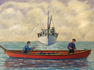 JOHN NEVILLE Hauling Trawl in Fog oil on canvas, 18 x 24 inches SOLD