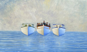 JOHN NEVILLE Three Boats Gathering in the Fog oil on canvas, 36 x 60 inches $12,800