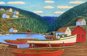 JOHN NEVILLE Village Scene oil on canvas, 24 x 36 inches $6500