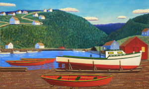 JOHN NEVILLE Boat on a Cradle oil on canvas, 36 x 60 inches $12,800