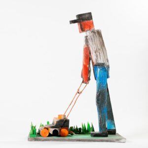 MATT BARTER Lawnmower Man paint, reclaimed wood and found object, 24h x 18 x 12 inches $2800