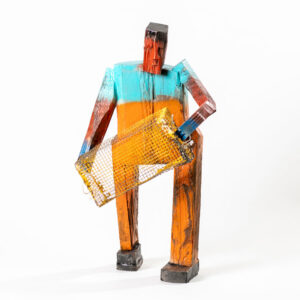 MATT BARTER Sternman with a Trap paint, reclaimed wood and found object, 20h x 12 x 10 inches SOLD