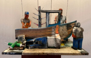 MATT BARTER Boatwork paint, reclaimed wood and found object, 24h x 36 x 28 inches $5500