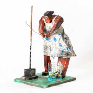 MATT BARTER Laundry Day paint, reclaimed wood and found object 20h x 12 x 12 inches $2400