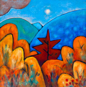 PHILIP BARTER Mt. with Red Maple acrylic on board, 24 x 24 inches $3200
