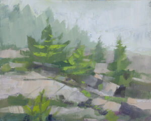 PHILIP FREY Fog at Schoodic oil on panel, 8 x 10 inches SOLD