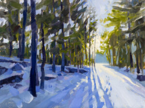 PHILIP FREY Winter Steps oil on linen, 12 x 16 inches SOLD
