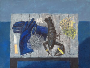 WILLIAM IRVINE Lobster and Bait Bags oil on canvas, 30 x 40 inches $7800