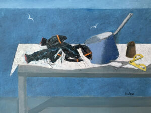 WILLIAM IRVINE Table with Lobsters oil on panel, 30 x 40 inches $7800