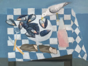 WILLIAM IRVINE Table with Mussels oil on panel, 30 x 40 inches $7800