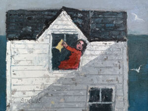 WILLIAM IRVINE Woman Washing Windows oil on panel, 12 x 16 inches $2800