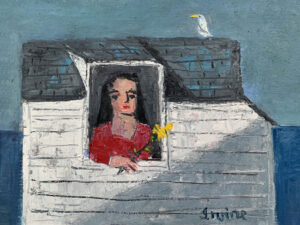 WILLIAM IRVINE Woman with a Flower oil on panel, 12 x 16 inches $2800