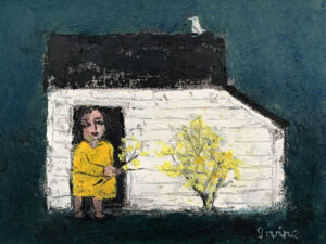 WILLIAM IRVINE Woman with Forsythia oil on panel, 12 x 16 inches SOLD