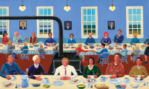 JOHN NEVILLE Salmon Supper oil on canvas, 36 x 60 inches $18,000