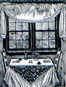 SIRI BECKMAN Breakfast wood engraving, edition of 100, 4 x 3 inches $300