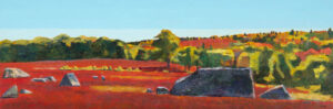 TOM CURRY Barren oil on birch panel, 20 x 60 inches $11,200
