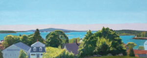 TOM CURRY Hillside View of Stonington oil on birch panel, 24 x 60 inches $14,000