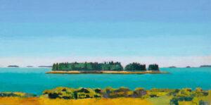 TOM CURRY Maine Coastline oil on birch panel, 20 x 36 inches $6200