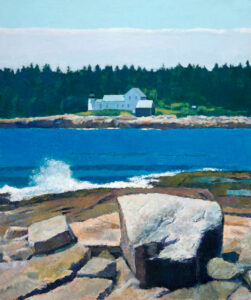 TOM CURRY Mark Island Lighthouse, Grindstone oil on birch panel, 36 x 43 inches $14,000