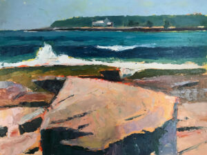 TOM CURRY Schoodic oil on birch panel, 12 x 16 inches $1800
