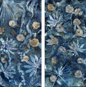 LISA TYSON ENNIS Beckoning the Elements Spring VI, IV unique cyanotype diptych on paper 50 x 45 inches $5400