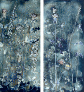LISA TYSON ENNIS Beckoning the Elements Summer Diptych II, IV unique cyanotype diptych on paper 50 x 45 inches $5400