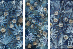 LISA TYSON ENNIS Beckoning the Elements Spring I, III, VII unique cyanotype triptych on paper, 50 x 78 $8000