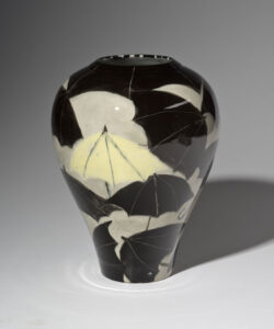 WILLIAM IRVINE A Shower of Umbrellas porcelain vase with Mark Bell, 10.5h x 8 inches VIEW 2