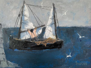 WILLIAM IRVINE Bringing in the Sails oil on panel, 12 x 16 inches SOLD