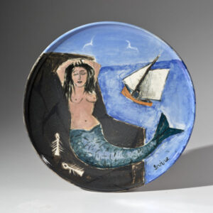 WILLIAM IRVINE The Resting Mermaid porcelain plate with Mark Bell, 13 inches SOLD
