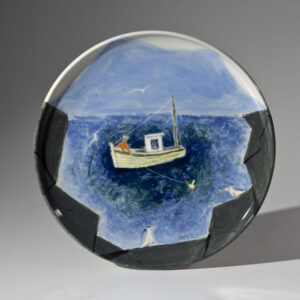 WILLIAM IRVINE The Yellow Lobster Boat porcelain plate with Mark Bell, 13 inches $1650