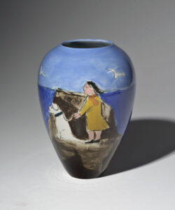 WILLIAM IRVINE Walking the Dog porcelain vase with Mark Bell, 8h x 6 inches $1350