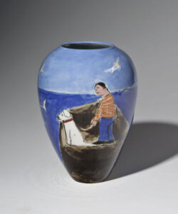 WILLIAM IRVINE Walking the Dog porcelain vase with Mark Bell, 8h x 6 inches VIEW 2