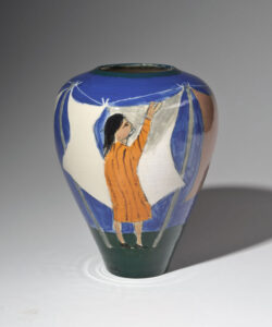 WILLIAM IRVINE Wash Day porcelain vase with Mark Bell, 9h x 7 inches SOLD