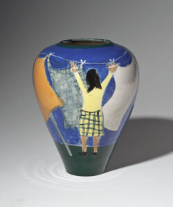 WILLIAM IRVINE Wash Day porcelain vase with Mark Bell, 9h x 7 inches VIEW 2